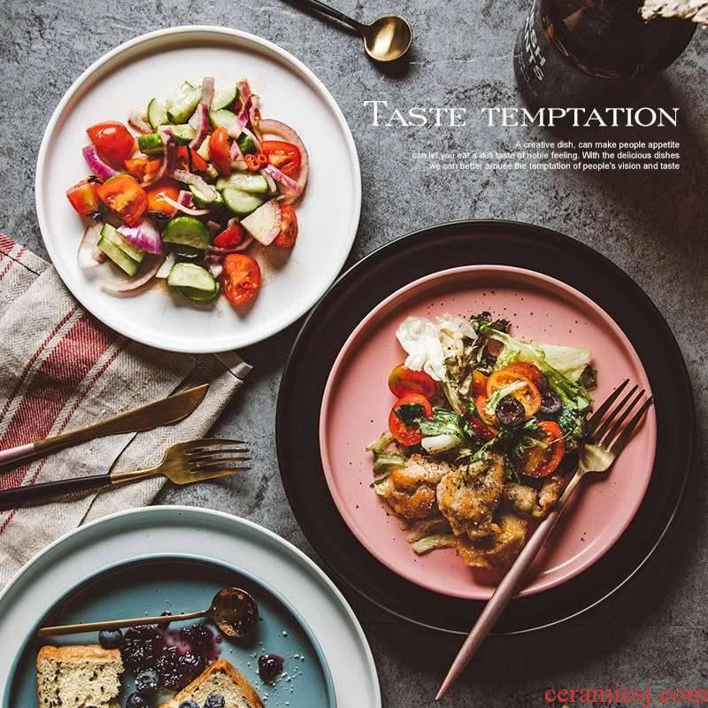 Boutique matte enrolled ins Nordic creative household ceramic dish dish dish beefsteak, black plate round flat