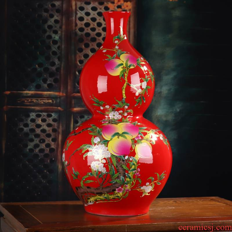 Gourd of large vases, jingdezhen ceramics China red fu lu shou sitting room adornment handicraft furnishing articles