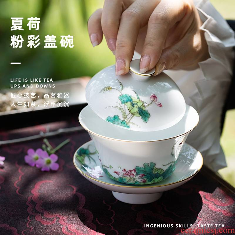 Summer lotus hill notes only pure manual water chestnut powder enamel hand - made lotus three tureen cups of jingdezhen ceramic tea set