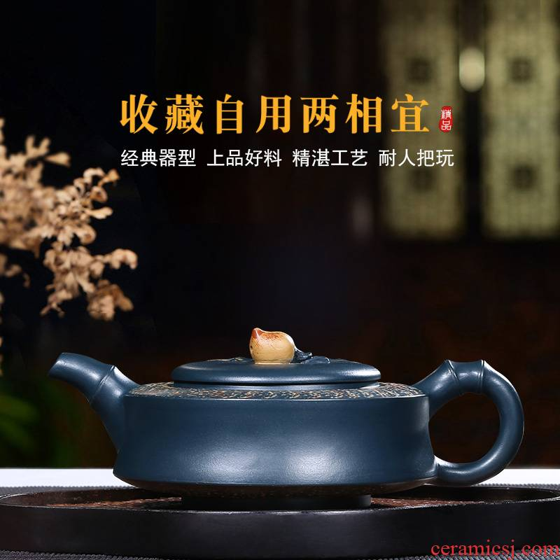 """""""Shadow enjoy"""" yixing are it by pure manual undressed ore green painting bamboo peach pot teapot tea set of the republic of China"""