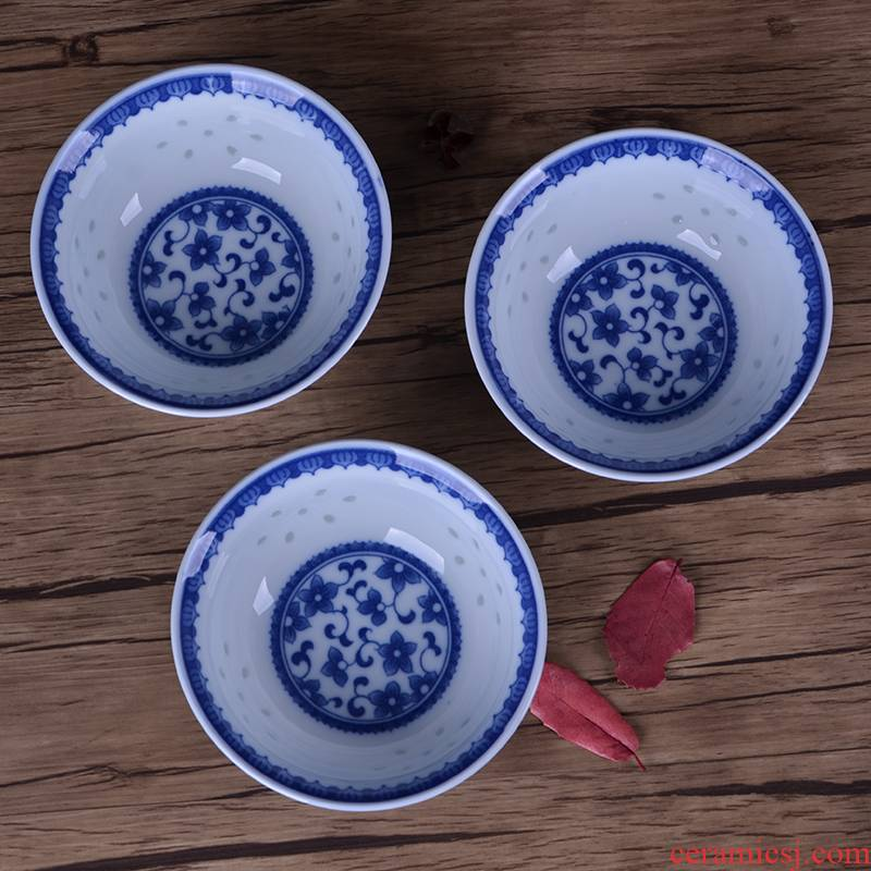 Jingdezhen porcelain ceramic bowls suit household 10 eat bowl under the glaze color individuality creative Chinese style and exquisite dishes