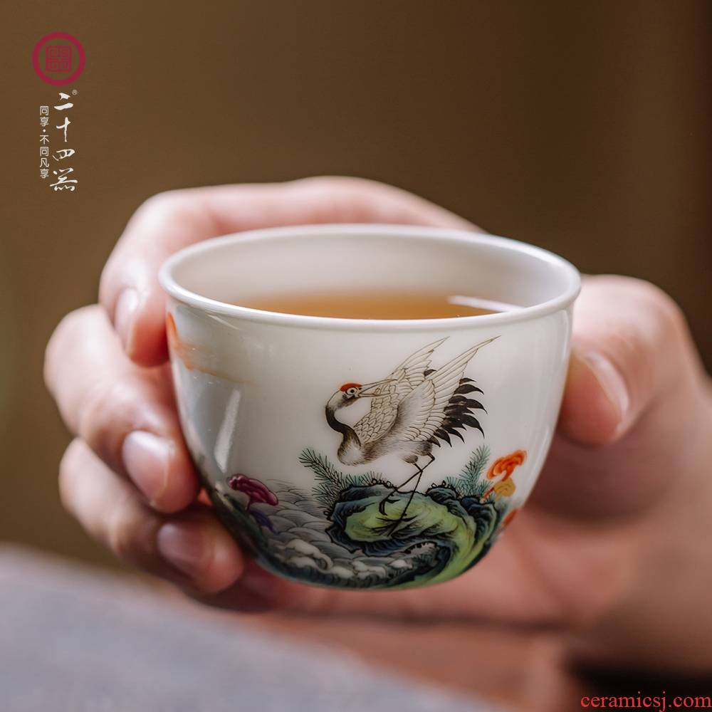 24 is pastel master cup single CPU kung fu tea cups high - end jingdezhen tea set ceramic checking sample tea cup