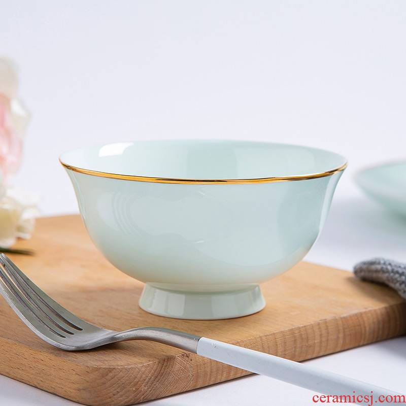 Jingdezhen eat bowl soup can prevent hot tall to use a single bowl of bowls of ipads plate tableware up phnom penh celadon bowls of household