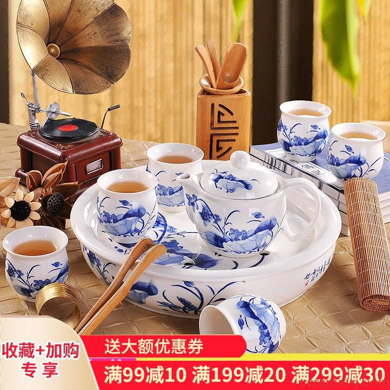 Poly real (blue and white porcelain tea set scene suit household circular contracted jingdezhen ceramic cup teapot a complete set of kung fu