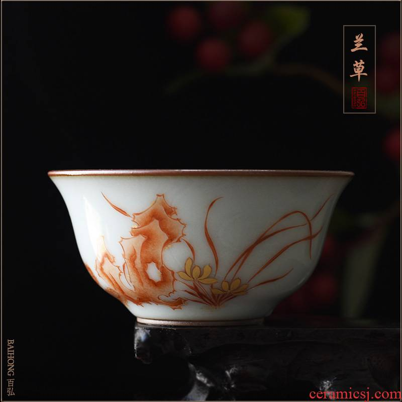 Hundreds of hong up with alum red paint orchid master cup single CPU jingdezhen teacups hand - made goldfish sample tea cup bowl