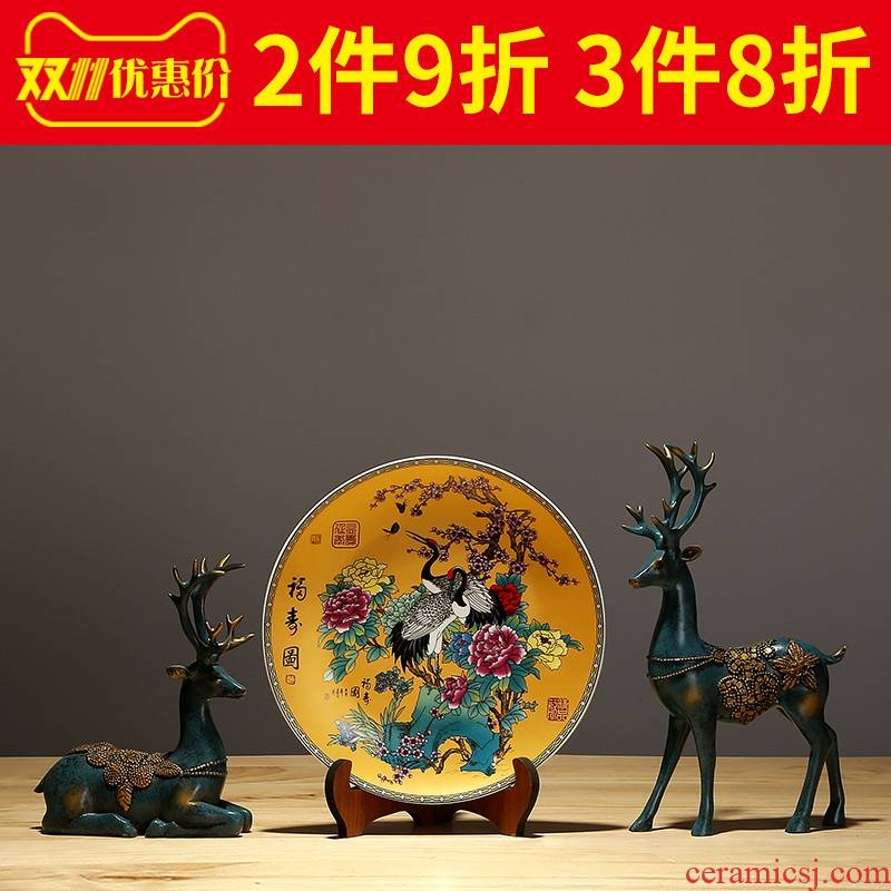 Jingdezhen ceramics hand - made decorative plates home sitting room porch handicraft TV ark, hang dish sat dish furnishing articles