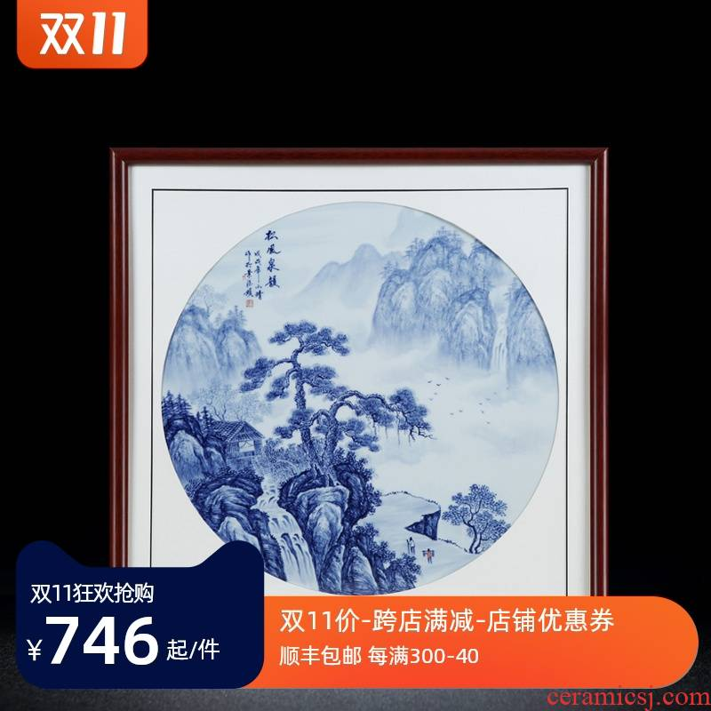 Jingdezhen porcelain plate painting blue and white porcelain plate painting landscape wind stream archaize sitting room adornment picture collection of pictures