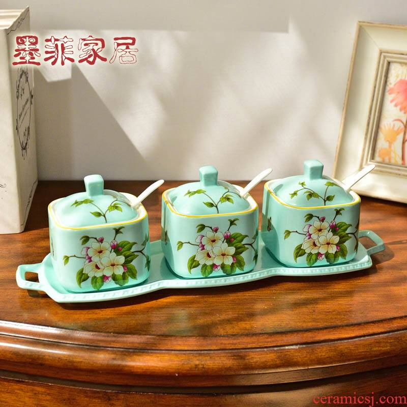 New Chinese style ceramic seasoning bottles American kitchen four - piece restaurant table sauce ingredients can tank suit furnishing articles