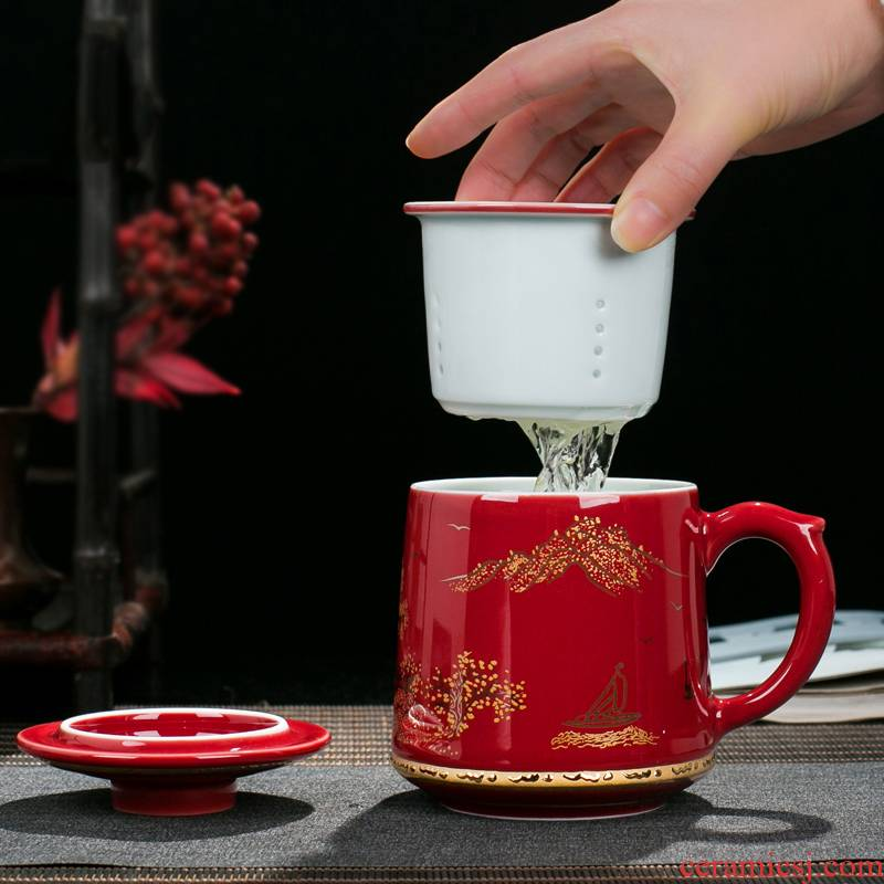 Jingdezhen ceramic large capacity filter cup office cup of household appliance with the tea cup single gift box packaging