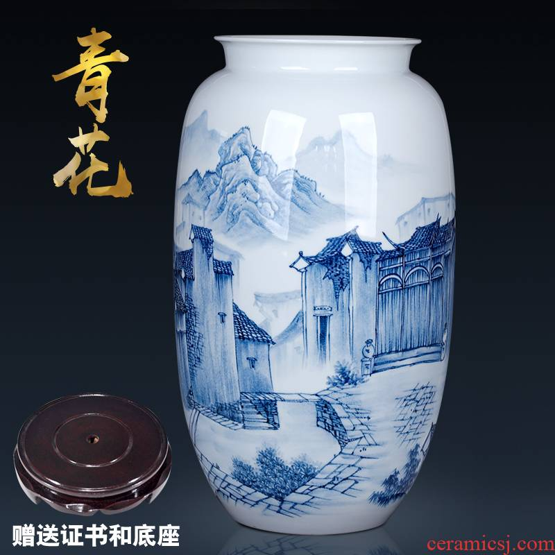 Creative large Chinese blue and white porcelain vase furnishing articles with sitting room 50 cm high TV ark, decorative porcelain of jingdezhen to restore ancient ways