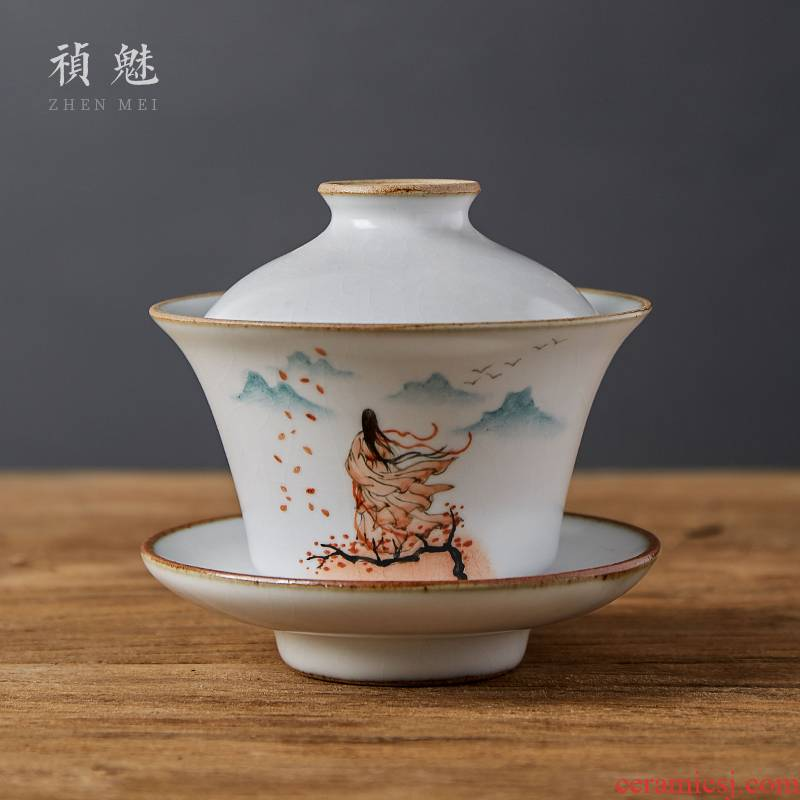 Shot incarnate the jingdezhen ceramic your up hand - made only three tureen tea cups ancientry kung fu tea tea bowl cover cup