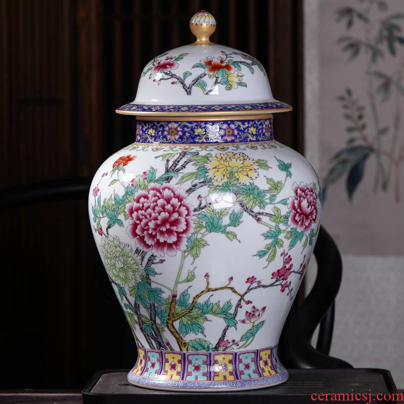 General archaize of jingdezhen ceramics powder enamel tank storage tank with cover household of Chinese style household decorates sitting room furnishing articles