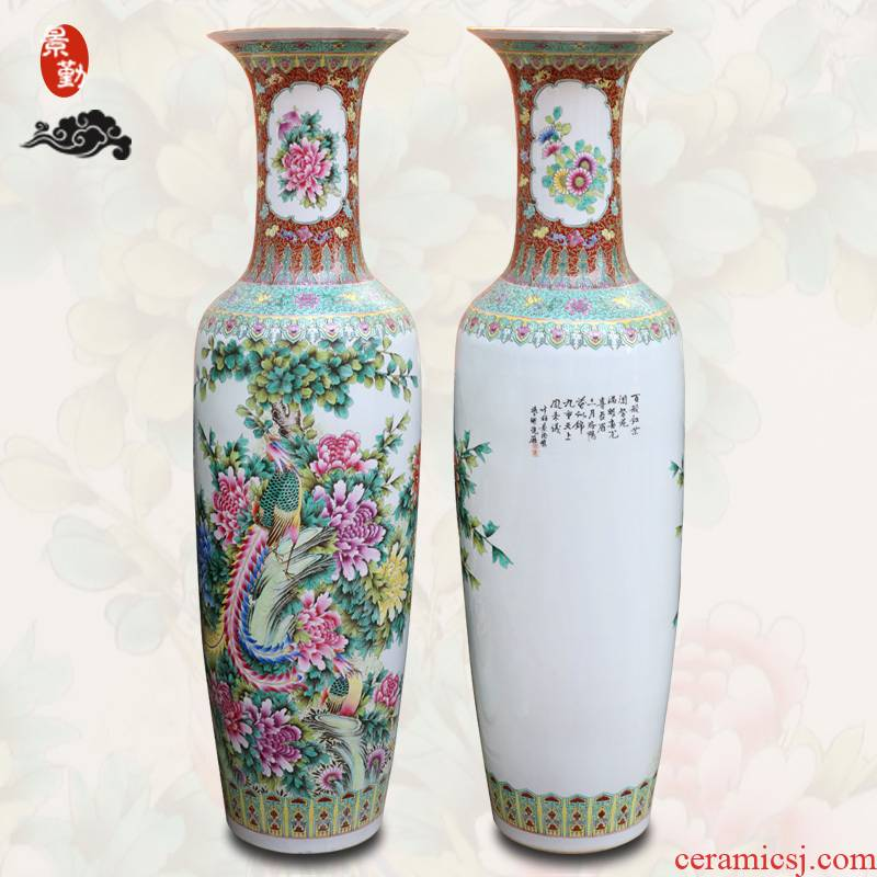 154 jingdezhen ceramics manual hand - made pastel peony hotel furnishing articles with a sitting room of large vase