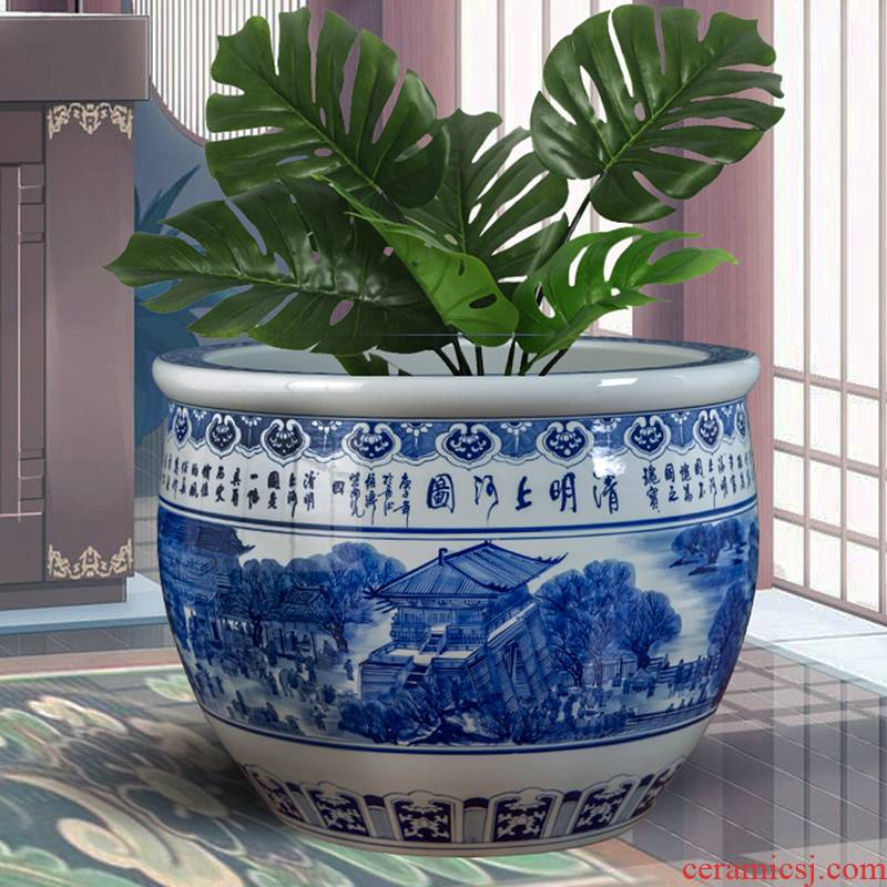Jingdezhen ceramic tank water lily lotus basin cycas bonsai trees keep flower pot painting and calligraphy cylinder garden furnishing articles