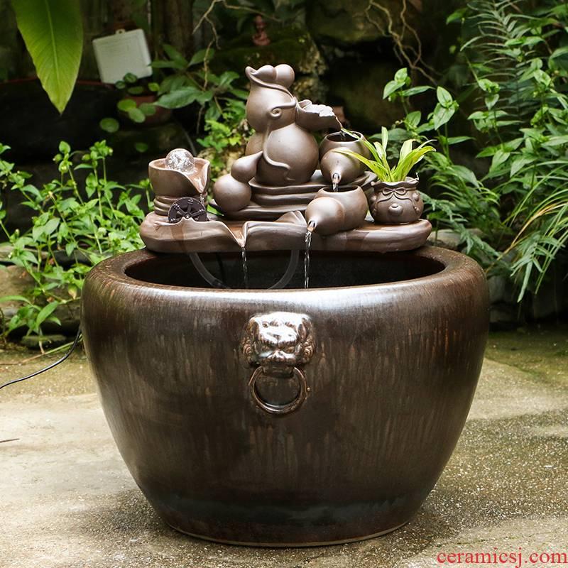 Art spirit of jingdezhen ceramic water tank yard restoring ancient ways humidifying small place feng shui plutus circulation to raise a goldfish bowl