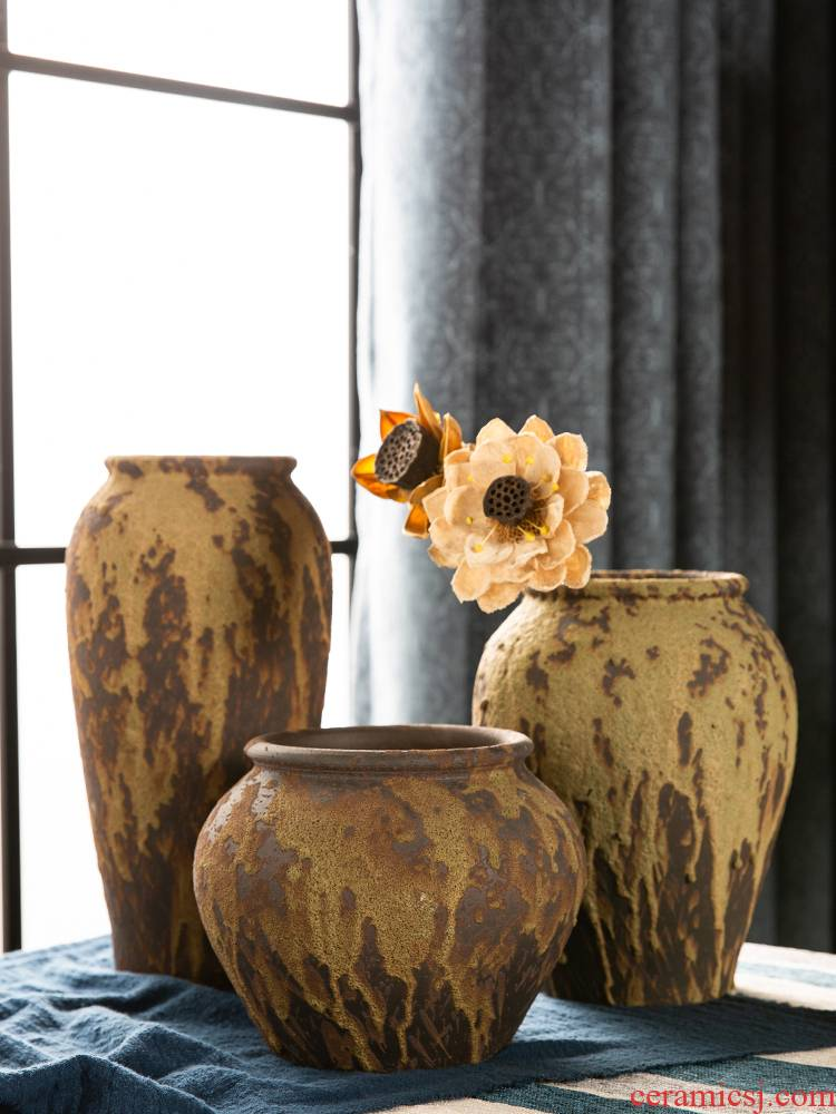 Restore ancient ways small pure and fresh and jingdezhen coarse some ceramic pot pottery furnishing articles all over the sky star, dried flower vases, flower arrangement sitting room adornment