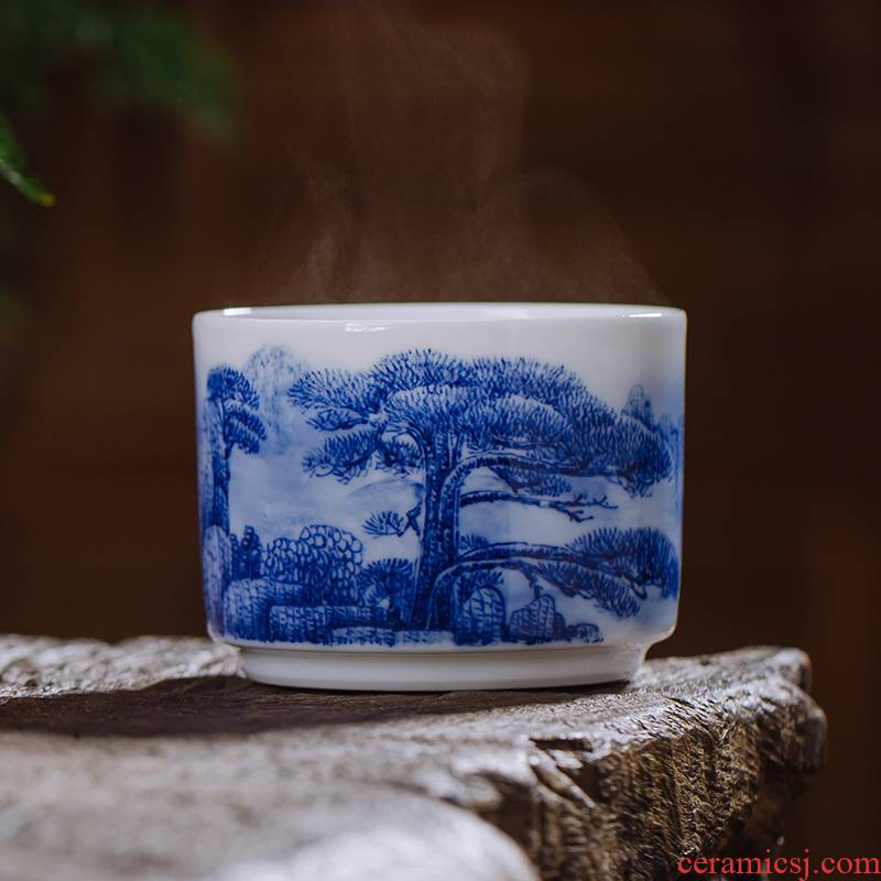 The Owl up jingdezhen porcelain tea set hand - made ceramic cups kongfu master cup sample tea cup single CPU