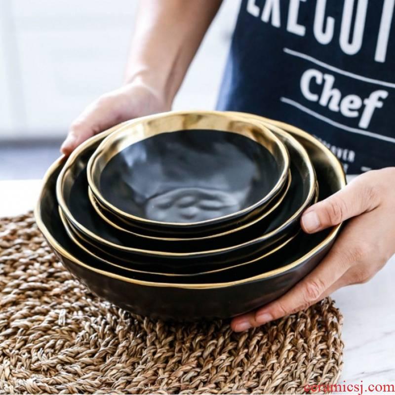 Northern wind restoring ancient ways creative up phnom penh matte enrolled the local tyrants, black ceramic ceramic bowl noodles bowl of soup bowl of salad bowl