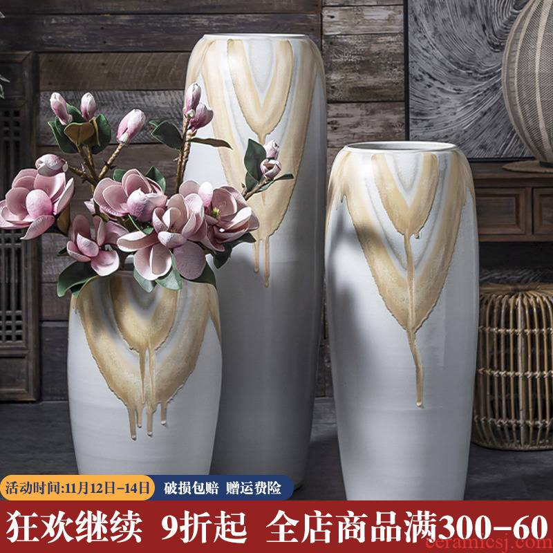 The New Chinese pottery and porcelain of large vases, I and contracted creative home furnishing articles garden decorative dried flowers decoration arranging flowers