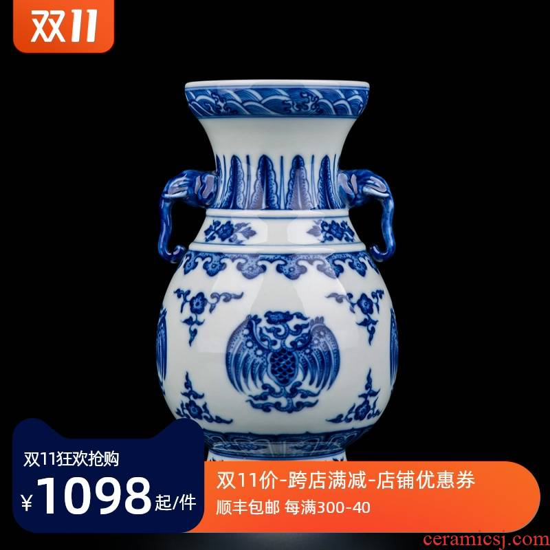 Ceramic vase furnishing articles sitting room adornment jingdezhen porcelain antique flower arranging innovative new Chinese style wood porcelain bottles