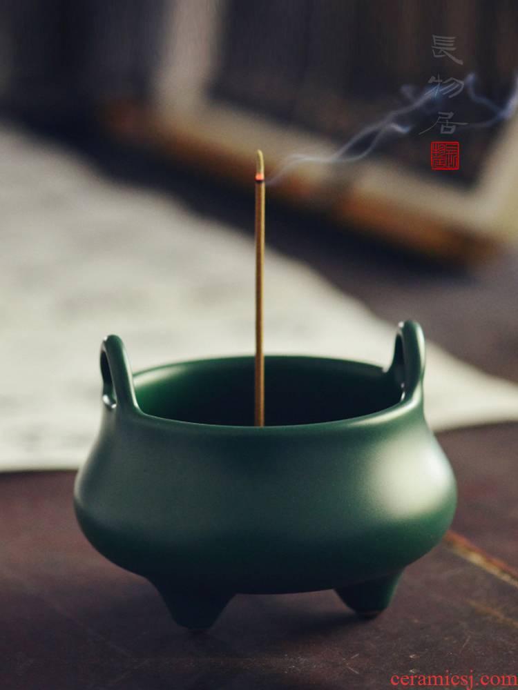 Offered home - cooked malachite green glaze over ears in jingdezhen porcelain incense buner manual ceramic incense incense buner aroma stove