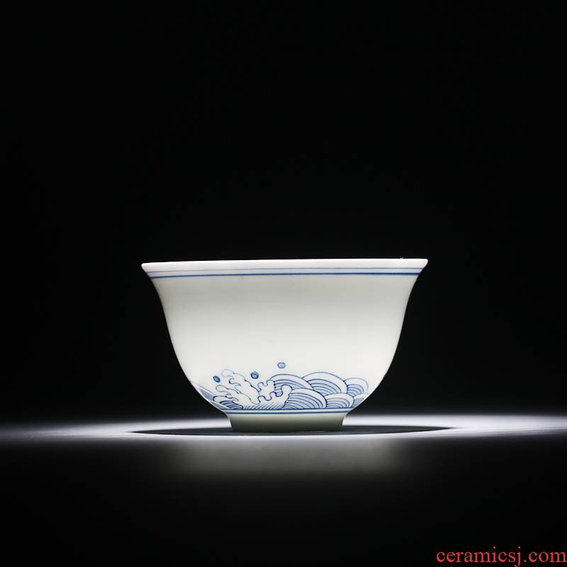 The Fire master cup one thousand cups of jingdezhen blue and white ceramics kung fu tea set manual hand - made single cups of tea cups