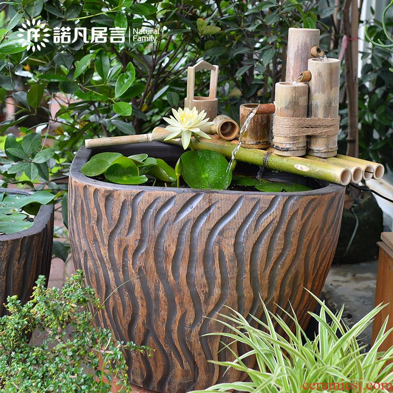 Jingdezhen ceramic fish tank water furnishing articles coarse pottery basin of the lotus pond lily bowl goldfish tank cylinder landscape the tortoise