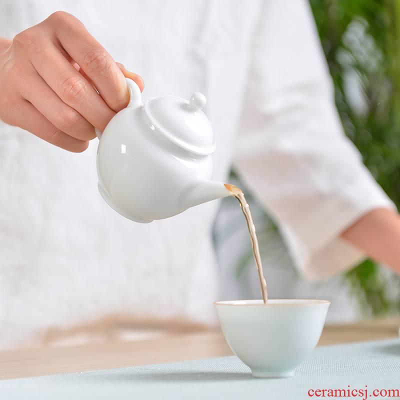 One thousand fire teapot jingdezhen ceramic suit contracted restoring ancient ways of filter tea mini small white porcelain single pot