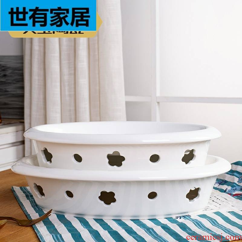 Pure white based alcohol lamp heating furnace Ming porcelain insulation fish dish plate of domestic large hotel creative plate