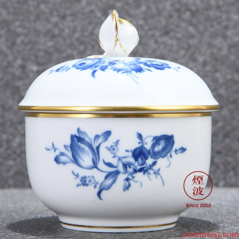 German mason mason meisen new clipping blue porcelain flower sugar jar of coffee
