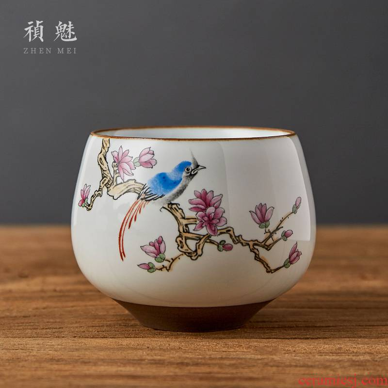 Shot incarnate all hand up painting of flowers and a cup of jingdezhen ceramic kung fu tea master sample tea cup cup personal single CPU