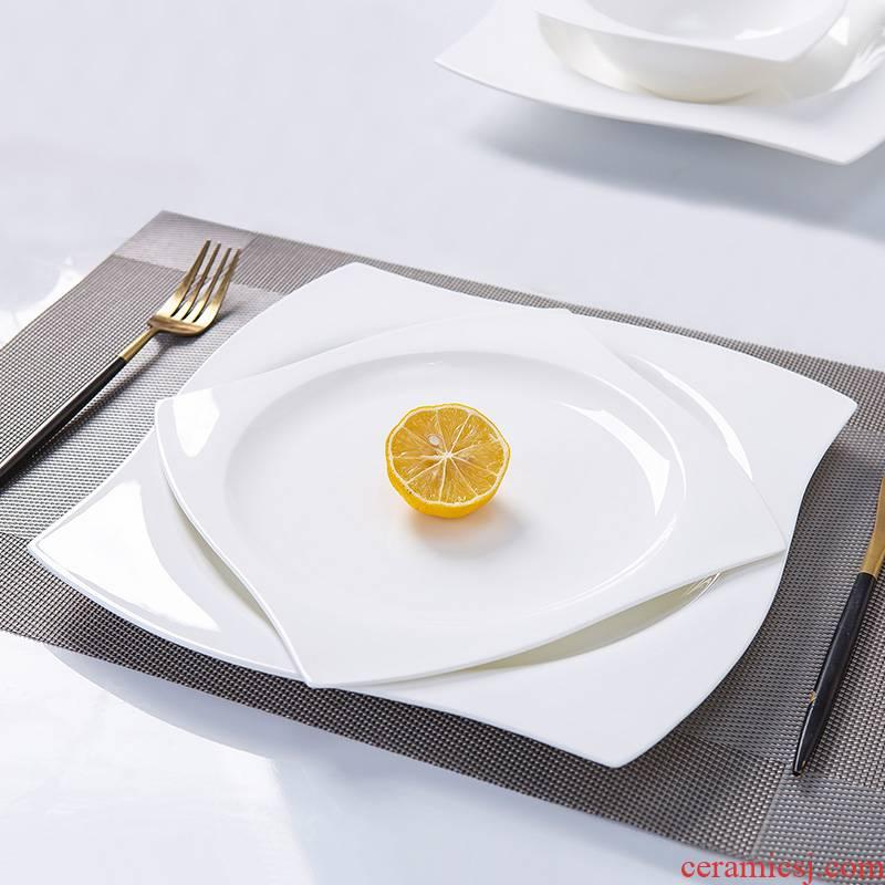Pure white ipads porcelain jingdezhen special dinner plate ceramic plate cake plate cold dish plate hot plate steak plate