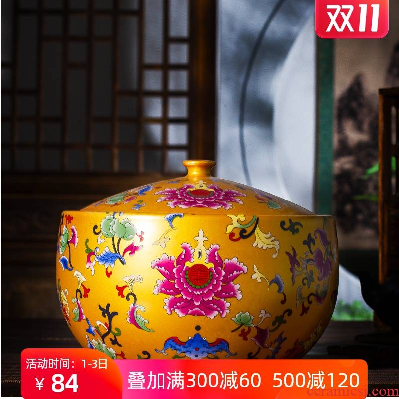 Jingdezhen ceramic tea canister barrel with cover household antique Chinese colored enamel sealing cornucopia storage tank