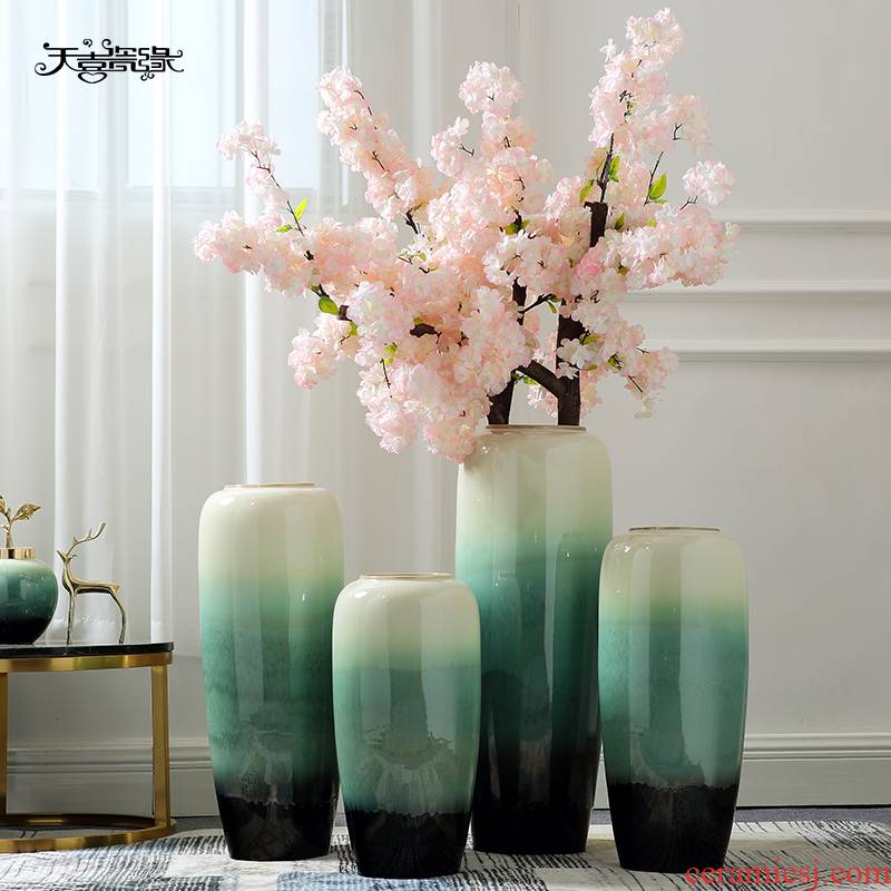 Jingdezhen ceramic Europe type of large vases, large sitting room porch decoration to the hotel villa flower flower implement furnishing articles