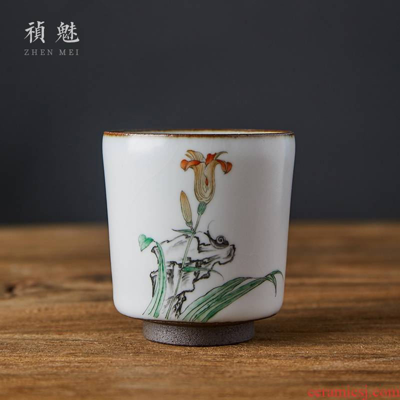 Shot incarnate the sniff your up hand - made teacup jingdezhen ceramic kung fu tea set open piece of sample tea cup masters cup single CPU