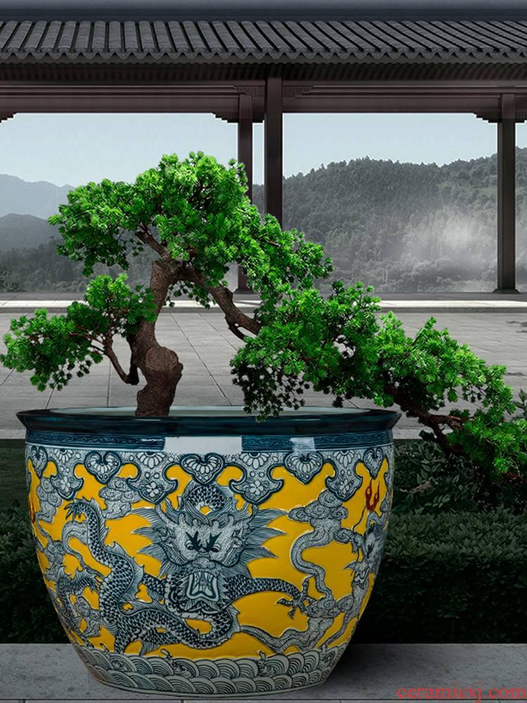 Jingdezhen ceramic aquarium tortoise cylinder large sitting room extra large ceramic tank koi pond lily cylinder cylinder aquarium