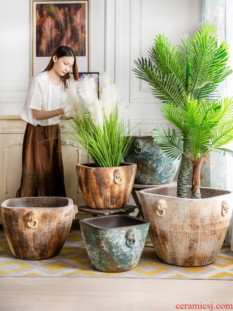Water lily lotus basin ceramic cylinder tank cycas bonsai pot plant trees goldfish bowl king garden hotel furnishing articles