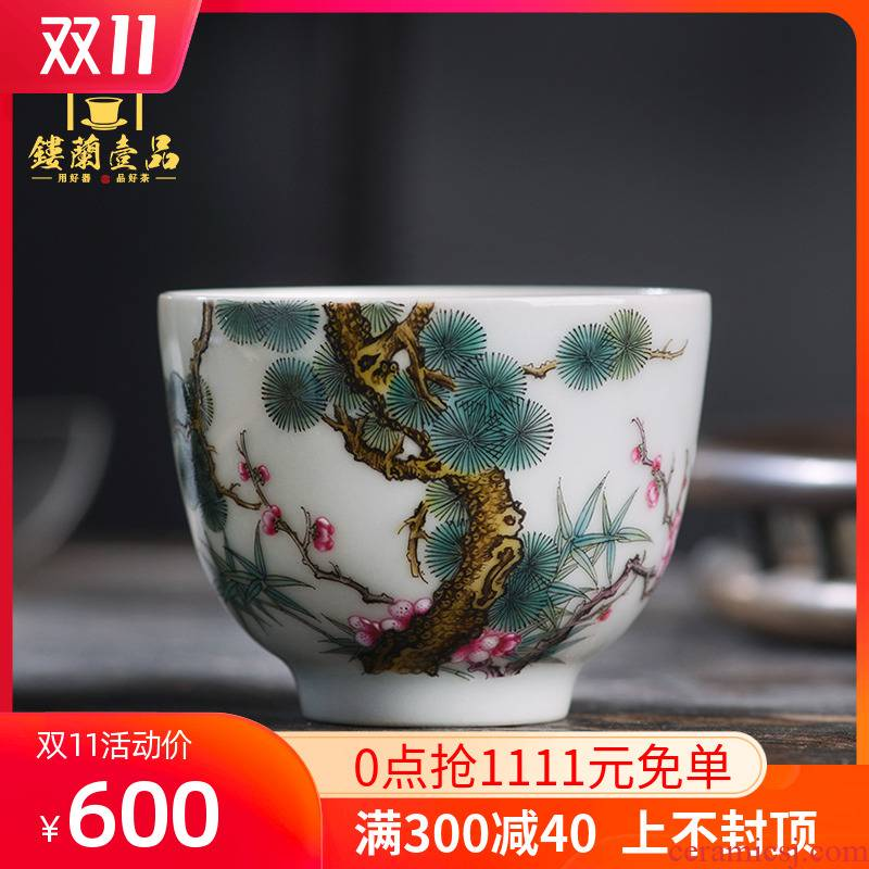Jingdezhen ceramic whole poetic age of hand - made of pastel masters cup kung fu tea cup personal tea cup