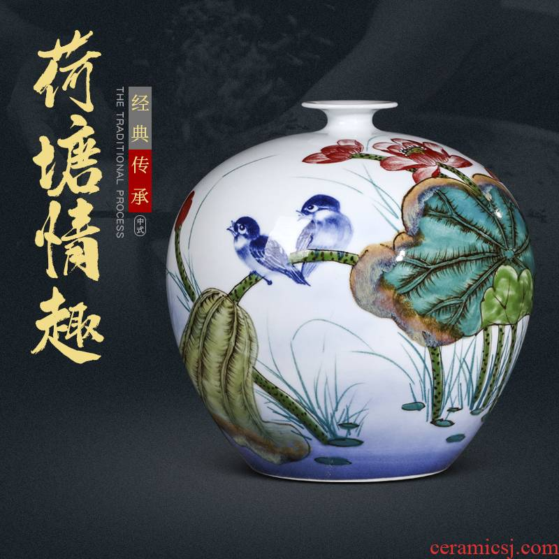The Master of jingdezhen ceramics hand - made vases, new Chinese style living room home wine porch is decorated handicraft furnishing articles