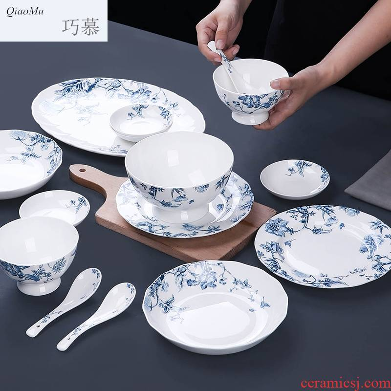 Qiao longed for blue and white porcelain tableware suit household bowls of ipads plate of jingdezhen ceramic dishes suit Chinese use chopsticks