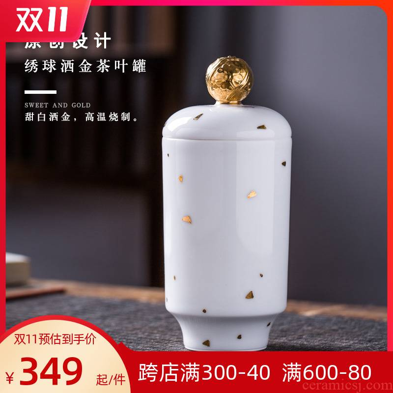 Checking out ceramic tea pot sweet white porcelain with gold tea warehouse bulk seal tank storage tank boutique gift boxes
