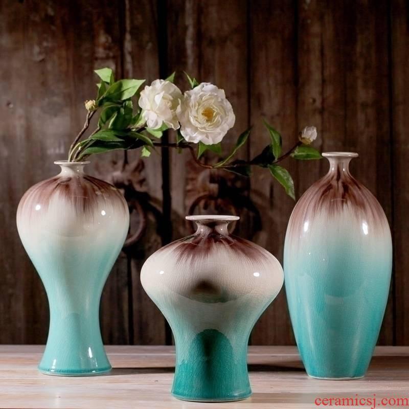 Jingdezhen ceramics up ice crack glaze vase three - piece home furnishing articles I sitting room adornment