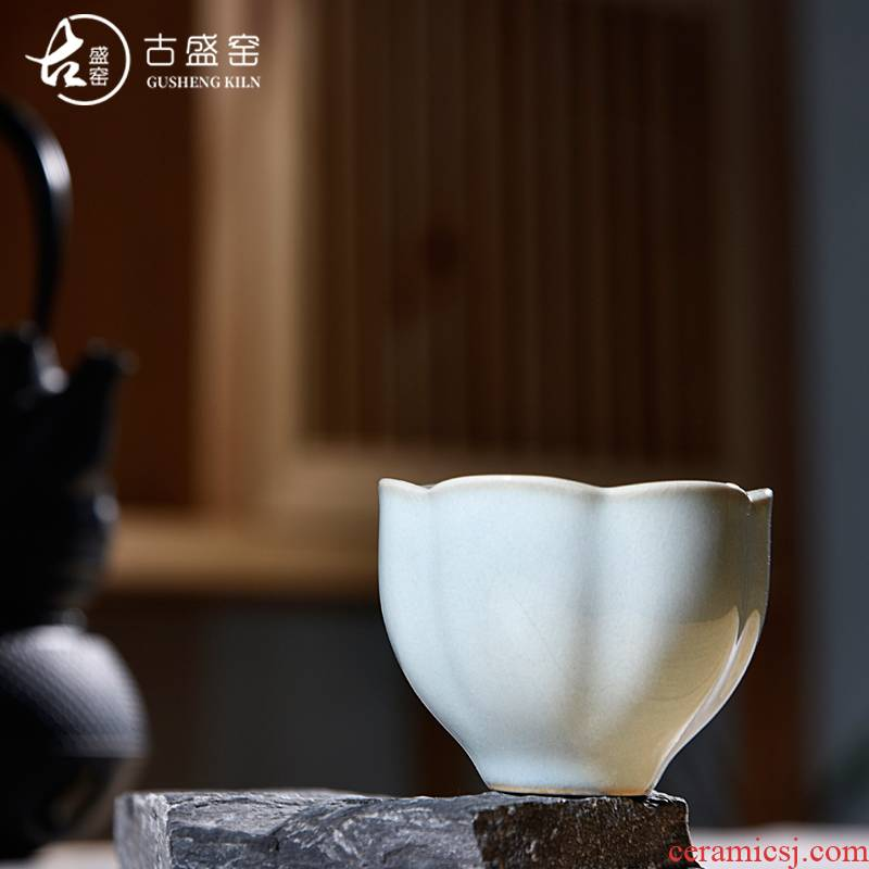 Ancient sheng up new name plum flower petals, jingdezhen up all hand master your up tea cup single cup tea bowl