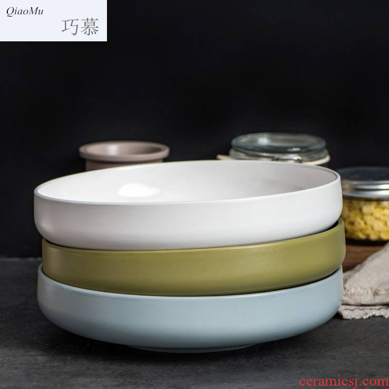 Qiam qiao mu creative American large ceramic bowl of fish head salad bowl household microwave tableware in Manhattan