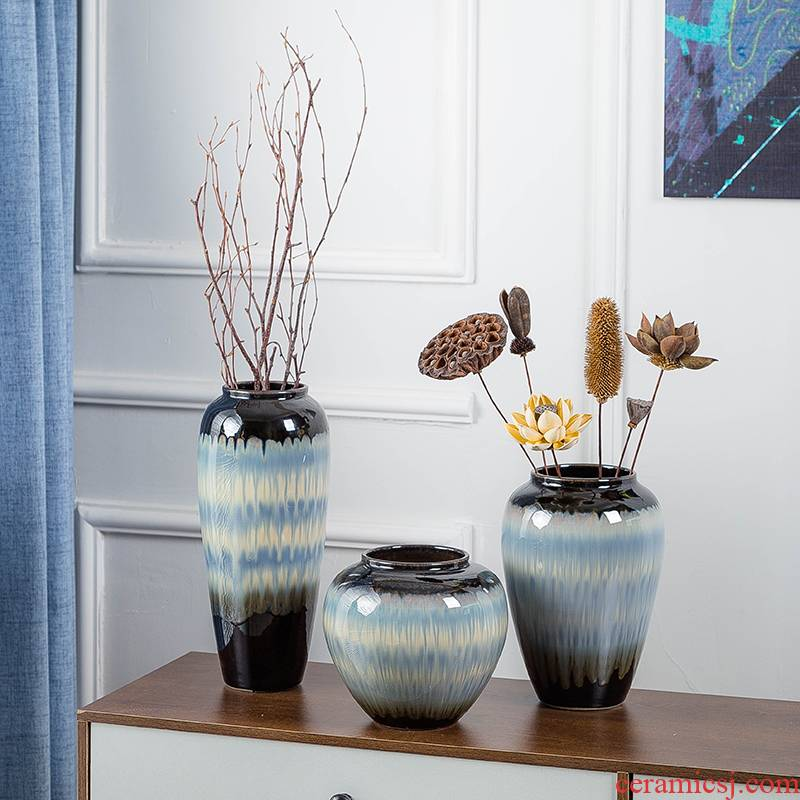 Jingdezhen ceramic vase furnishing articles table dry flower arranging flowers, Chinese style household wine sitting room adornment of I and contracted