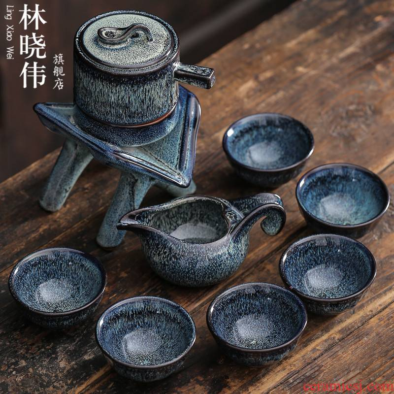Lin Xiaowei ceramic kung fu tea set household masterpieces with YinJian lamp automatic variable lazy stone mill tea set