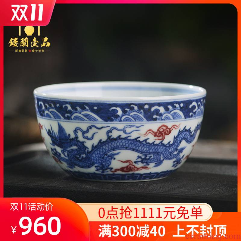 All hand - made ceramics jingdezhen blue and white dragon playing bead masters cup kung fu tea home tea cup to use single CPU