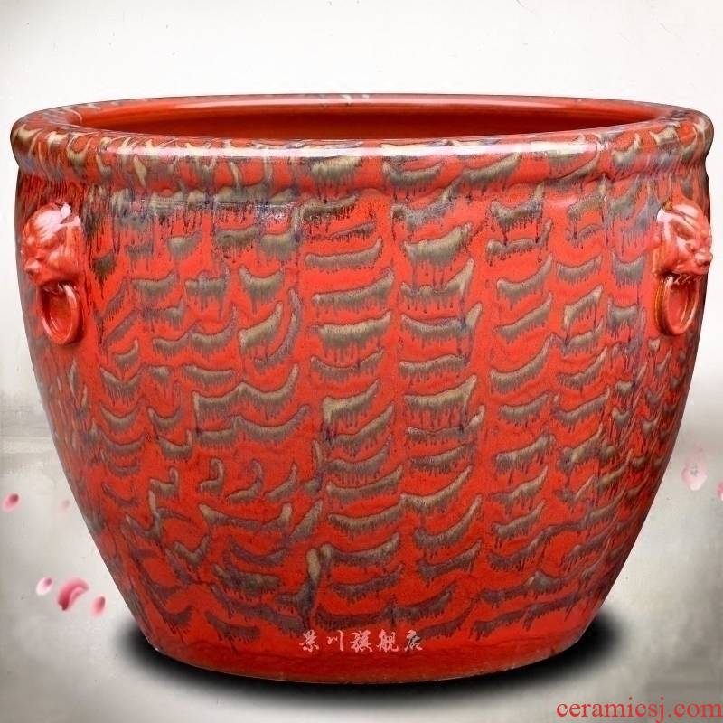 Jingdezhen ceramic up red glaze aquarium painting tortoise cylinder water lily cylinder home sitting room courtyard furnishing articles