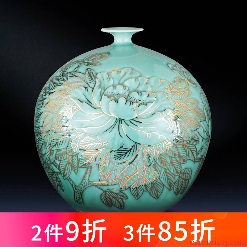 Jingdezhen ceramics vase hand - made large shadow blue paint pomegranate bottles of the sitting room of Chinese style household adornment furnishing articles