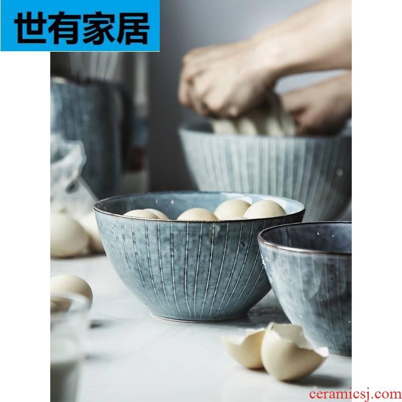 Hunchback rain grandma Japanese household tableware ceramic bowl of soup bowl bowl creative salad bowl mercifully rainbow such as bowl bowl